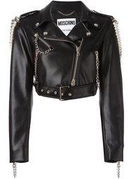 декорированная байкерская куртка  Moschino