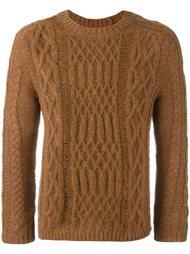 свитер вязки косичкой с потертой отделкой Maison Margiela