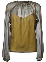 bishop sleeve sheer blouse Rochas
