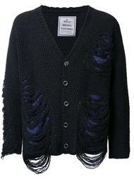 frayed textured knit cardigan Maison Mihara Yasuhiro