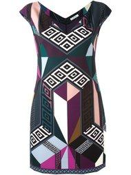 приталенное платье с геометрическим узором Versace Collection