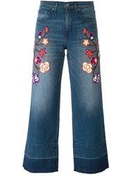 укороченные джинсы с цветочной вышивкой Sandrine Rose