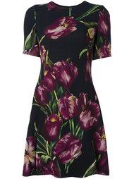 расклешенное платье с принтом тюльпанов Dolce & Gabbana