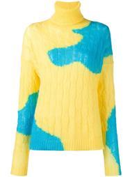 двухцветный свитер с узором 'косичка' Delpozo