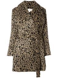 пальто с леопардовым рисунком и поясом Michael Michael Kors