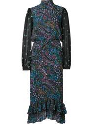 printed ruffle hem dress Saloni