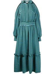 полосатое платье с открытыми плечами Fendi