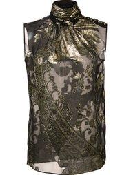блузка с цветочным узором и высокой горловиной Emanuel Ungaro