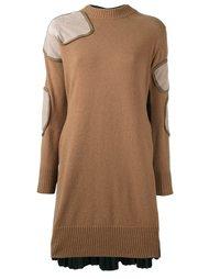 трикотажное платье с плиссировкой сзади Sacai