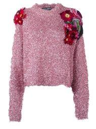 джемпер с цветочными аппликациями Dolce & Gabbana