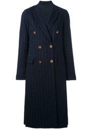 двубортное пальто в тонкую полоску Brunello Cucinelli