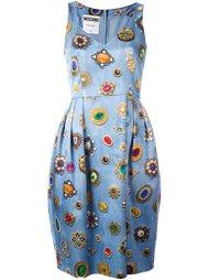 платье с рисунком в виде драгоценностей Moschino