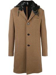 однобортное пальто с контрастным капюшоном Carven