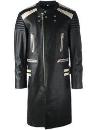 кожаное пальто в стиле колор-блок Maison Margiela