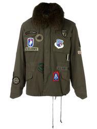 куртка на молнии с нашивками и кроличьим мехом As65