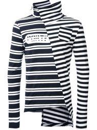 striped asymmetric collar T-shirt Maison Mihara Yasuhiro