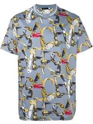футболка с принтом ремней Versace