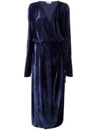 драпированное платье миди с V-образным вырезом Attico
