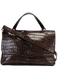 сумка-сэтчел с эффектом крокодиловой кожи Zanellato