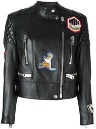 patched biker jacket Coach