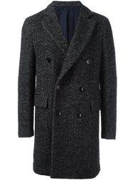 двубортное пальто в елочку Mp  Massimo Piombo