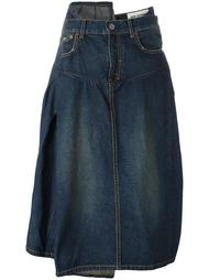асимметричная джинсовая юбка со складками Junya Watanabe Comme Des Garçons