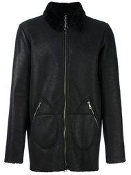кожаная куртка с отделкой на воротнике Giorgio Brato
