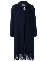 пальто на пуговицах с запахом и бахромой Victoria Beckham