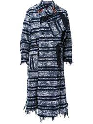 striped raw edge coat Maison Mihara Yasuhiro