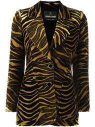 бархатный пиджак с тигровым принтом Roberto Cavalli
