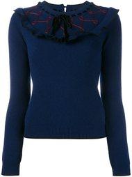 свитер с оборками и бархатными завязками Roksanda