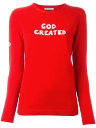 джемпер с принтом-интарсией 'God Created' Bella Freud