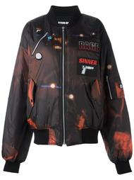 объемная куртка бомбер с нашивками Hyein Seo