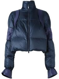 куртка-пуховик с отделкой из кожи Sacai