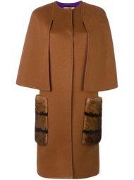 пальто с карманами из меха норки Fendi