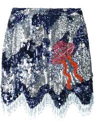 юбка с пайетками и волнистым подолом House Of Holland