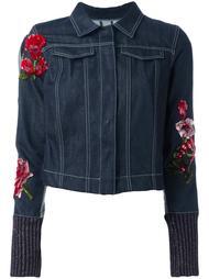 джинсовая куртка с цветочной вышивкой Aviù