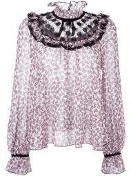 ruffled sheer neck blouse Giamba