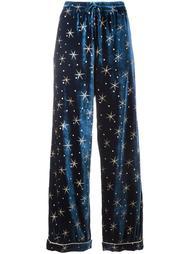 бархатные пижамные брюки с вышивкой звезд Valentino