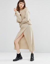 Вязаная юбка с запахом Rokoko Co-Ord - Кремовый