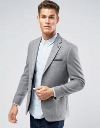 Светло-серый блейзер слим из шерстяной смеси Burton Menswear - Серый