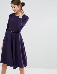 Платье миди с длинными рукавами и поясом Closet - Фиолетовый