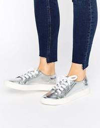 Серебристые кроссовки на шнуровке Faith - Серебряный