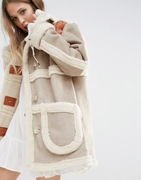 Moon River Faux Suede Coat With Faux Shearling - Бежевый