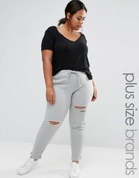 Boohoo Plus Slash Track Pants - Серый