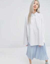 Рубашка-оversize в серую клетку с карманами STYLENANDA - Серый