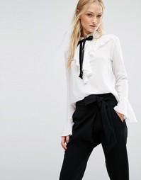 Блузка с оборками и бантиком Newlily - Белый
