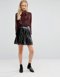 Newlily Pleated Mini Skirt - Серебряный