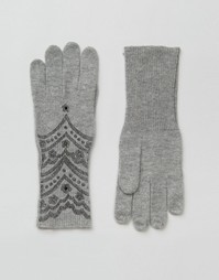Alice Hannah Scallop Lace Print Gloves - Белый