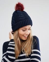 Вязаная шапка-бини с помпоном из искусственного меха Urbancode - Темно-синий